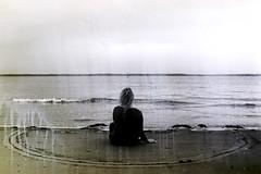 2222 (mawa-mi) Tags: experimental bw beach sand girl mermaid dark light film filmisnotdead 35mm sea melancholy feelings depression sadness goodbye circle missing love