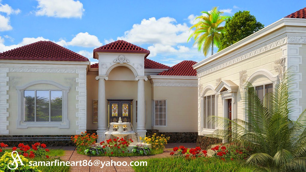 The world 39 s newest photos of stone and vray flickr hive mind for Classic villa exterior design