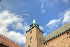 Akershus Tower (Tony Shertila) Tags: sky tower castle water weather oslo norway architecture buildings europe day royal akershus fortress hdr partlycloudy partialcloudy