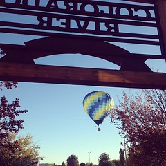 Setup for the 2014 Balloon Regatta is underway!  CRD and the Rivers End Cafe had a great view of this #hotairballoon take to the sky!  Come see more in flight above #Page #AZ!  #ballooning #mainstreetusa Thanks for the photo @ksseyler!
