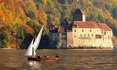SWITZERLAND - Leman Lake - Chillon Castle (Jacques Rollet (Little Available)) Tags: fabuleuse chillon château castle lac lake léman leman barque