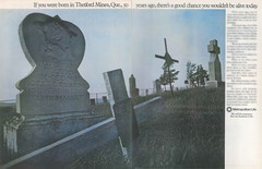Vintage Life Insurance 2-Page Ad - Thetford Mines, Quebec (Asbestorama) Tags: life canada cemetery grave cross quebec headstone tombstone ad advertisement advert mines marker insurance thetford asbestos