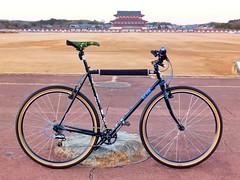 Surly Cross Check. Heijo Palace. Nara, Japan. (kinkicycle.com) Tags: bicycle monster japan japanese cycling bikes bicycles nara custom surly xtr raceface brucegordon shimano crosscheck kcdc monstercross rocknroad