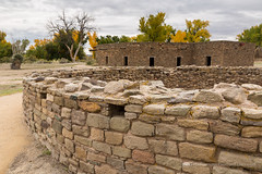 Fall Colors and Indian Ruins (Free Roaming Photography) Tags: autumn trees fallleaves usa newmexico southwest west fall stone ruins desert fallcolors indian bricks pueblo autumnleaves autumncolors nativeamerican highdesert cottonwood western northamerica nationalmonument indianruins kiva reconstruction southwestern cottonwoods americansouthwest nativeamericanruins aztecruins cottonwoodtrees aztecruinsnationalmonument