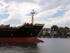Goliath departure 5 (PhillMono) Tags: white bay boat ship harbour sydney vessel olympus cargo crew bow goliath darling tanker e30