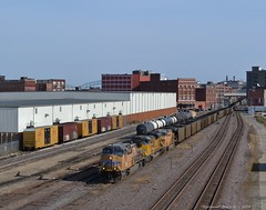 "Westbound Empty Coal Train in Kansas City, MO (""Righteous"" Grant G.) Tags: city railroad west yard train state pacific empty union railway trains line bottoms kansas locomotive coal westbound"