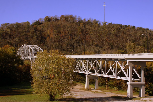 Cordell Hull Bridge (2014 reopened) east road view - Carthage, TN