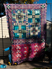 PB023006 (MizGingerSnaps) Tags: pink november autumn usa fall virginia purple quilt top teal hippy blues crosses windy full solids quilting finished williamsburg trippy psychedelic crisscross improvised scrap completed pinks teals primitive resurrection purples 2014 improvisational pieced 9patch plaids piecing aquas intheyard jamescitycounty