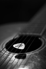 Guitar (Sri Captures's) Tags: lighting blackandwhite music white black macro closeup canon photography flickr day bokeh guitar bad award best pick canon60d
