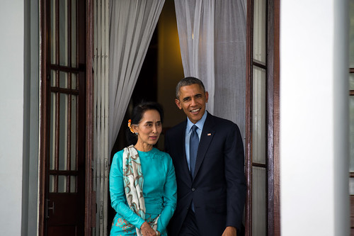 From flickr.com: Nobel Peace Prize winners President Obama and Aung San Suu Kyi. {MID-168405}