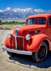Road to Manzanar, Eastern Sierras, California (Rod Heywood) Tags: california blue orange mountains cars ford abandoned truck classiccar skies pickup pickuptruck highdesert sierras hwy395 lonepine sierranevadas manzanar easternsierras highway395 manzanarnationalhistoricalsite