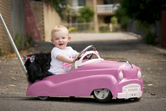 Alice Riding in Hot Rod Stroller (FotogenikFilm) Tags: baby cute girl wagon rat sweet stroller hotrod custom built carshow pram pedalcar leadsled totrod