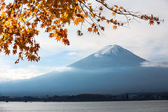 Fujisan (Patrick Foto ;)) Tags: morning travel autumn winter red sky mountain lake snow plant tree fall leave tourism nature water beautiful yellow japan river garden season landscape japanese volcano tokyo leaf maple scenery asia day fuji mt view background scenic mount fujisan copyspace kawaguchiko yamanashiken minamitsurugun