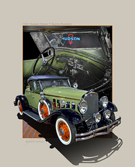 Straight Eight ((The) Appleman) Tags: orange green classic sports composite digital 1931 antique interior convertible hudson six luxury sporty roadster fotocreations theappleman