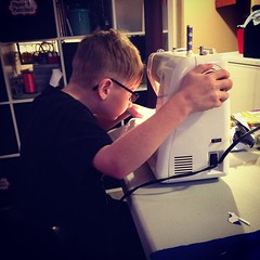 "Last day off school and he decides he's gonna start sewing ;) #thatsmyboy #craftylife • <a style=""font-size:0.8em;"" href=""http://www.flickr.com/photos/10624169@N08/15921732081/"" target=""_blank"">View on Flickr</a>"