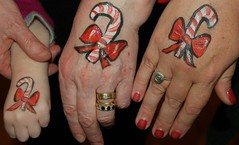 Candy Cane Hands! Molly Race, Mary Conaghan and Lori Murphy