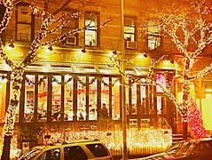 Christmas Cafe Lalo (dannydalypix) Tags: nyc newyorkcity cafe christmaslights cafelalo tomhanks nighthawks megryan uploaded:by=flickrmobile colorvibefilter flickriosapp:filter=colorvibe you'vegotmail