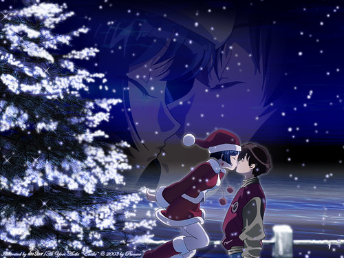 Merry Christmas Anime Girl Boy Night Kiss Hd Wallpaper Stylish Hd