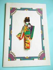 All-purpose card 21 (tengds) Tags: blue orange green purple cream card kimono obi ochre papercraft japanesepaper washi ningyo handmadecard chiyogami yuzenwashi japanesepaperdoll washidoll origamidoll tengds allpurposecard