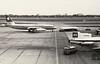 Swissair Coronado HB-ICB and BEA Trident 1 G-ARPL, Heathrow, July 1967 (Proplinerman) Tags: bea heathrow aircraft 1967 coronado airliner trident swissair trijet convair convair990 hbicb garpl