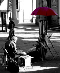 The Moment (Mika. J.) Tags: light red portrait blackandwhite italy streetart florence artist umbrela