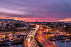 Highway sunset (Storkholm Photography) Tags: road city longexposure bri