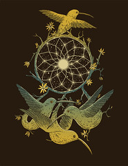 Dreamcatching (nduenas) Tags: flowers sky sun moon art leaves birds animals illustration night stars design drawing surrealism space arts dream surreal hummingbirds dreamcatcher normanduenas