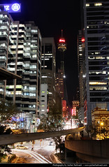 View along Market Street @ Night, Sydney, Australia (JH_1982) Tags: street new light building tower luz wales night skyscraper buildings dark lights noche glow view darkness skyscrapers market nacht lumire south sydney australia nsw highrise glowing cbd australien nuit notte dunkel highrises beleuchtung australie     beleuchtet leuchten         sdney