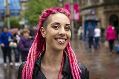 Stranger 42/100 'Sadhbh' (Leanne Boulton) Tags: life street city uk pink light shadow portrait people urban irish woman color colour detail texture beautiful smile face smiling fashion dreadlocks female canon pose scotland living eyes colorful mood natural emotion bright humanity bokeh outdoor expression glasgow character culture streetphotography posed streetportrait style happiness streetlife scene piercing depthoffield human shade portraiture 7d feeling colourful society tone facial alternative stylish bokehlicious 100strangers
