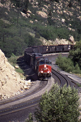 Southern Pacific AC4400CW #272 and #233 westbound at Price Canyon Utah on 7-14-96 (LE_Irvin) Tags: southernpacific ac4400cw pricecanyonut