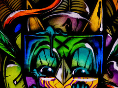 In the Jungle, the Mighty Jungle (Steve Taylor (Photography)) Tags: newzealand christchurch streetart texture festival museum graffiti eyes mural lashes spectrum grain beak ears canterbury jungle nz southisland pupils oiyou