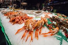 Seafood at La Boqueria market (Daniel Zwierzchowski) Tags: barcelona food canon shopping eos spain market fresh seafood catalunya boqueria cigala boque 550d eos550d