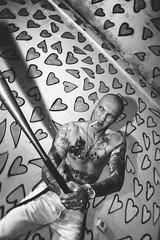 auf die liebe. (sommerpfuetze) Tags: life chris portrait people bw man male love tattoo mono heart skin tattoos sw mann liebe leben skinhead zigarette haut baseballschläger schwarzweis chrisproll