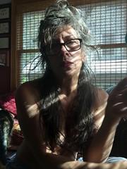 Self portrait. (Retro Focus Eyewear & Back Thennish Vintage) Tags: selfportrait longhair messyhair redlipstick bedhead selfshot girlsinglasses naturalwomen 50somethingshadesofgrey