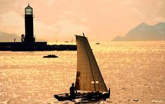 E po-la Ra de Vigo... (Franco DAlbao) Tags: sea lighthouse backlight contraluz faro boat mar barco vigo traditionalboat dorna radevigo alcabre nikond60 embarcacintradicional dalbao francodalbao