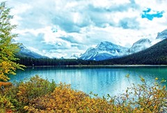 Jasper National Park in Alberta province, Canada (goodhike) Tags: park autumn trees cloud lake snow canada mountains tree fall nature clouds landscape rockies jasper natural outdoor rocky canadian glacier national alberta glaciers wilderness province albertaprovince parkjasper
