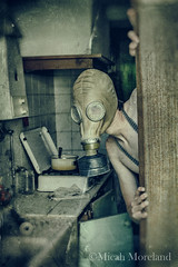 Welcome (micahmoreland) Tags: creepy horror surreal surrealism surrealist conceptual costume wheezer world war 2 ii dystopian scary haunting wet plate grunge texture male toxic death danger gas mask thin skinny abandoned house urbex urban exploration kitchen disturbing comical