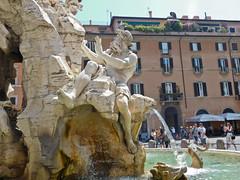 Bernini's Fontana dei Quattro Fiumi or Fountain of the Four Rivers  e1 (litlesam1) Tags: italy rome soloromejuly2016 july2016 fountains