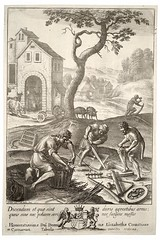 Country craftsmen. State 2 (1653). Etching by Wenceslas Hollar (1607-1677) (Swallowtail Garden Seeds) Tags: art monochrome engrave engraving narcissus fauna flora drawing sketch men craftsmen etching wenceslashollar hollar basket plant smith weaving auger saw plough