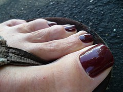 Skyfall Closeup (toepaintguy) Tags: male guy men man masculine boy nail nails fingernail fingernails toenail toenails toe foot feet sandal sandals polish lacquer gloss glossy shine shiny sexy fun daring allure gorgeous glitter maroon red brown creme