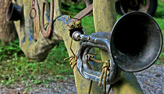 Crazy Rusty Trumpet Player (jrussell.1916) Tags: gate fence rustic folkart trumpet screws rusty tennessee eyes horn canonefs1755f28is