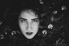 The Lullaby (LaRuephotography) Tags: flowers portrait bw woman flower beauty face fairytale spring eyes pale fairy strong lipstick striking nymph larue