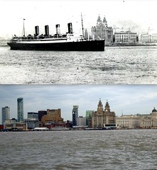 RMS Aquitania, River Mersey, 1914 and 2014 (Keithjones84) Tags: liverpool river threegraces mersey pierhead thenandnow merseyside oldliverpool