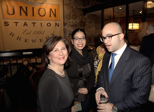 Nellie Gorbea greets her supporters at a Union Station Brewery. Photo by John Nickerson.