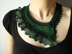Green beaded crochet lace necklace - statement necklace with emerald green seed beads and crocheted cotton lace (irregular expressions) Tags: necklace jewelry beadednecklace crochetnecklace cottonlace crochetlace beadedcrochet lacenecklace beadedlace irregularexpressions czechglassseedbeads statementnecklace beadworknecklace oversizednecklace darkgreennecklace emeraldgreenlace forestgreennecklace darkgreenbeadedcrochetnecklace