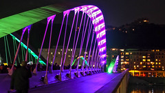 Lyon - Inauguration du pont Maurice Schumann sur la Sane. (Gilles Daligand) Tags: lighting bridge france night lyon maurice ceremony illumination pont opening nuit inauguration inaugural schumann sane vaise
