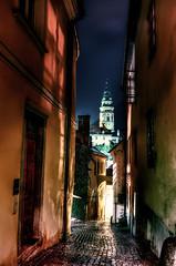 Czech Alley (beelzebub2011) Tags: church alley europe lane czechrepublic ceskykrumlov hdr highdynamicresolution