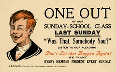 One Out of Our Sunday-School Class Last Sunday (Alan Mays) Tags: old ohio brown black boys students vintage tooth paper children typography education missing funny humorous comic antique cincinnati teeth religion sunday humor tan churches illustrations ephemera postcards type oh series 1912 schools absent 1910s standard fonts printed wordplay puns typefaces classes guilt pleading missingtooth postcardseries sundayschools absences oneout standardpublishing standardpublishingco abcno postcardpublishers abcno25