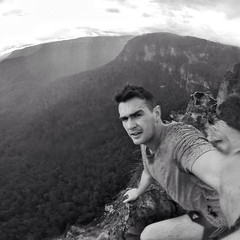 The three sisters (wind_water_waves) Tags: blue cliff storm mountains green rain freedom dangerous wind running bluemountains falling threesisters fitness isolated daredevil trailrunning gopro goprohero3 goproblack