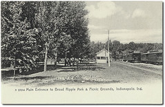 Entrance and picnic grounds at Broad Ripple Park, Indianapolis, Indiana (Hoosier Recollections) Tags: people usa man men history station buildings walking indianapolis parks indiana transportation pedestrians depot interurban buggy buggies trolleys businesses broadripple marioncounty hoosierrecollections